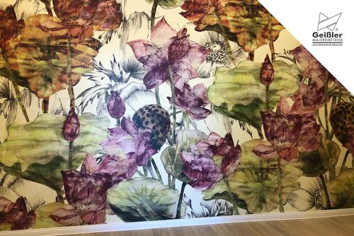 Gesund arbeiten in der Naturheilpraxis... mineralische Farbe und Fototapete Lotusblume
