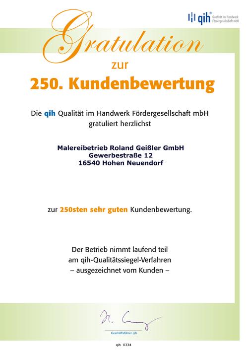 qih - Qualität im Handwerk: 250. sehr-gut-Kundenbewertung
