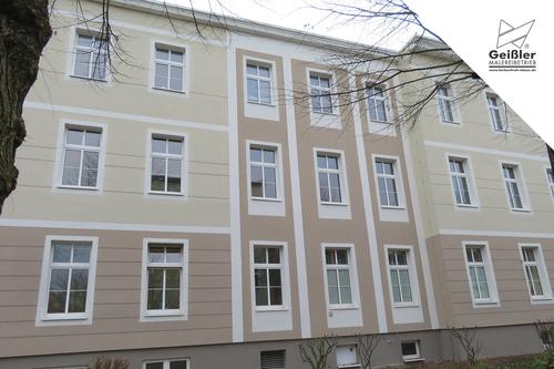 Fassadenschutz mit Silikonharzfassadenfarbe... Fassadenanstricharbeiten am Landratsamt Oberhavel